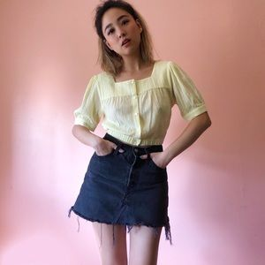 & Other Stories Pale Yellow Crop Blouse